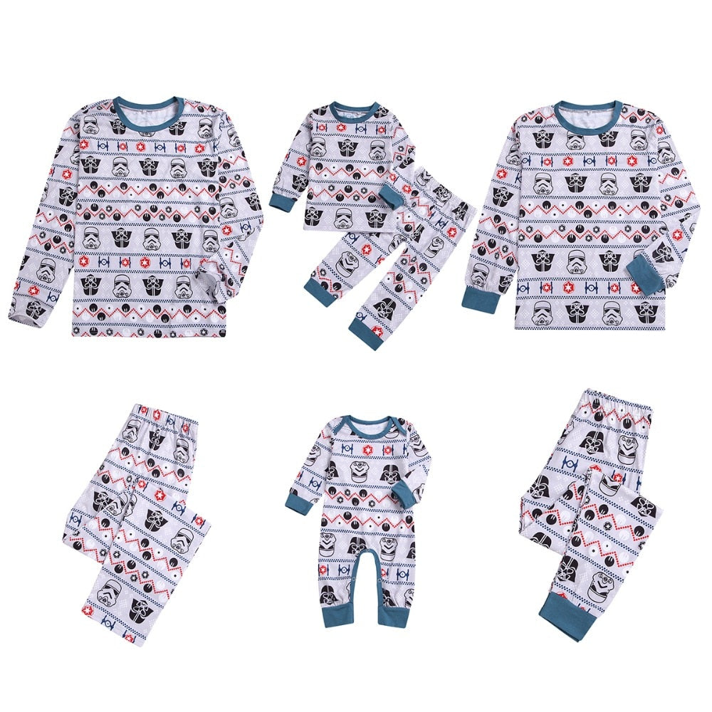 Christmas Family Matching Clothes Star Wars Print Long Sleeve T shirt Tops Long Pants Pajamas Set Kids Aduly
