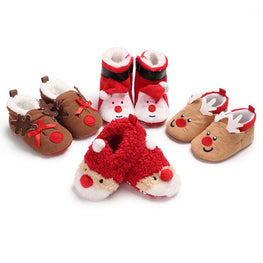 Christmas Newborn Baby First Walk Shoes Girl Boy Soft Anti slip Shoes Xmas Deer Santa Claus Cute