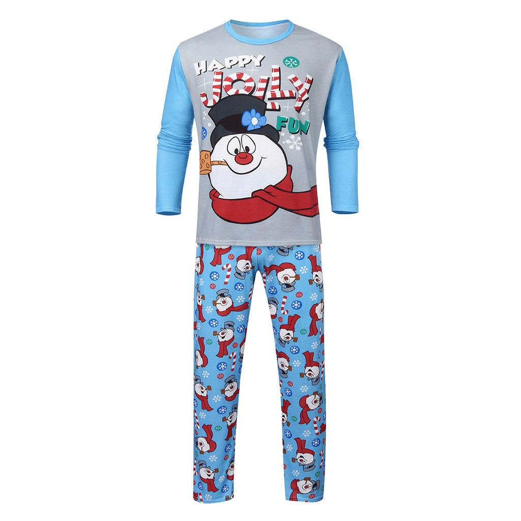 Christmas Pajamas Father Mother Kid Baby snowman Printed Letter Long Sleeve Top+Print Pants Xmas Matching Family
