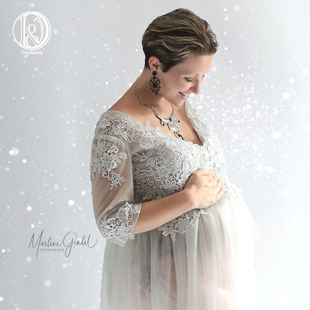 Sexy Women Pregnant V Neck Embroidered Tulle Long Maxi Gown Pregnancy Dress Art Photo Dress High Quality Maternity Dress