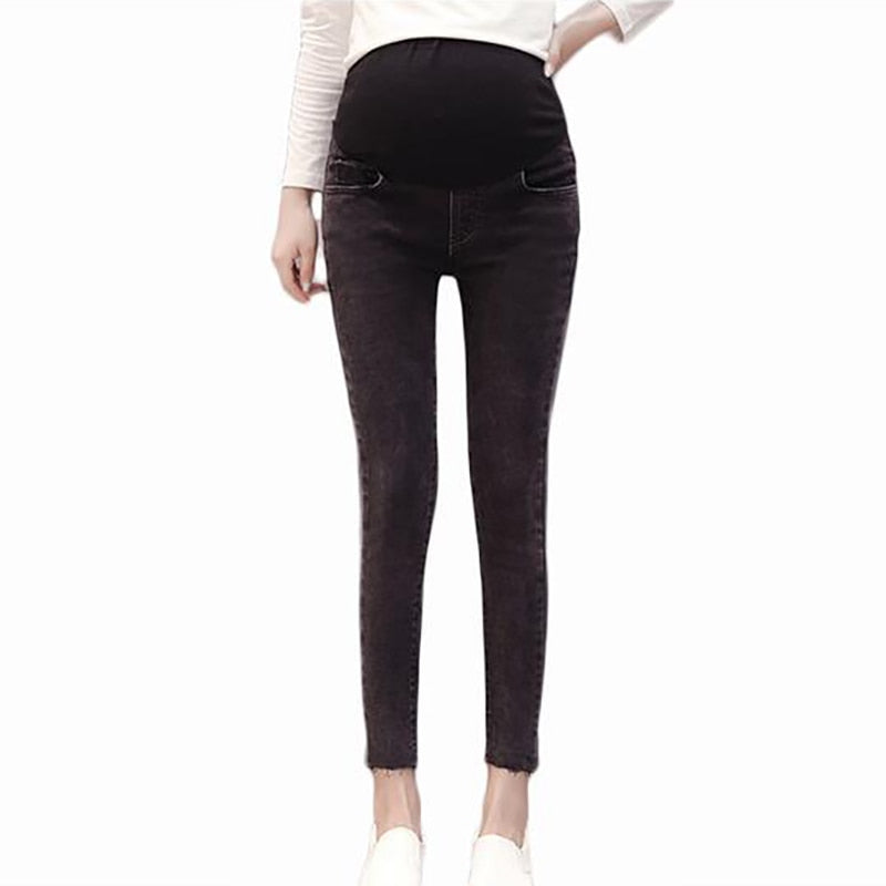 Elastic Waist Belly Denim Maternity Jeans Pencil Trousers  for Pregnant Women Pants Dark Gray