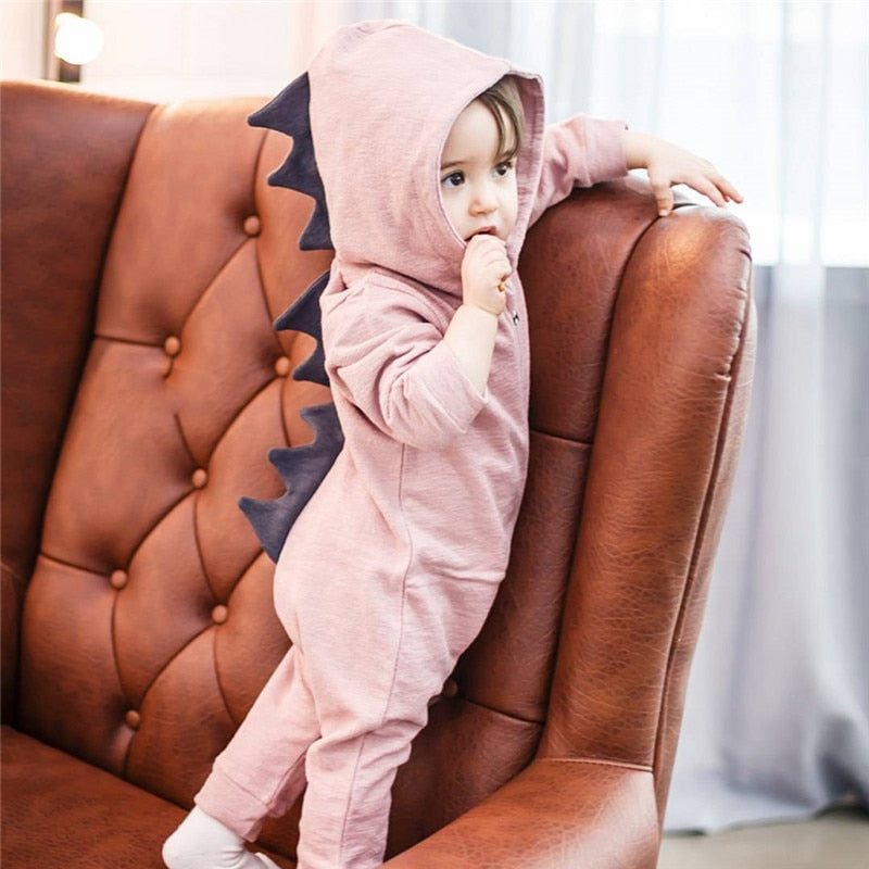Emmababy Baby Boy Girl 3D Dinosaur Costume Solid pink gray Rompers warm spring autumn cotton romper Playsuit Clothes