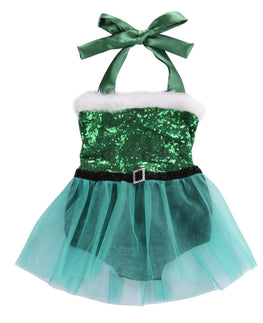 Christmas Baby Girls Sleeveless Pullover Rompers Santa Tutu Dress