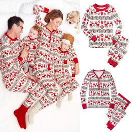 Family Christmas Pajamas Set Mom and Baby Kid Clothes Print Long Sleeve Sweatershirt+Pants 2pcs