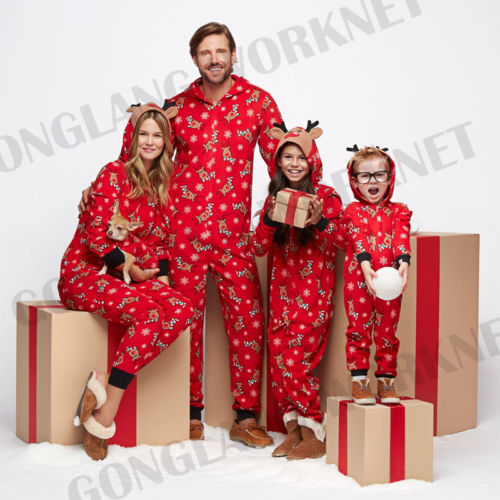 Family Matching Christmas Pajamas Romper Jumpsuit Women Men Baby Kids