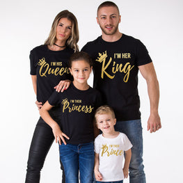 Father King Mother Queen Daughter Princess Son Prince Clothes Cotton T-shirt Fashion Family Look
