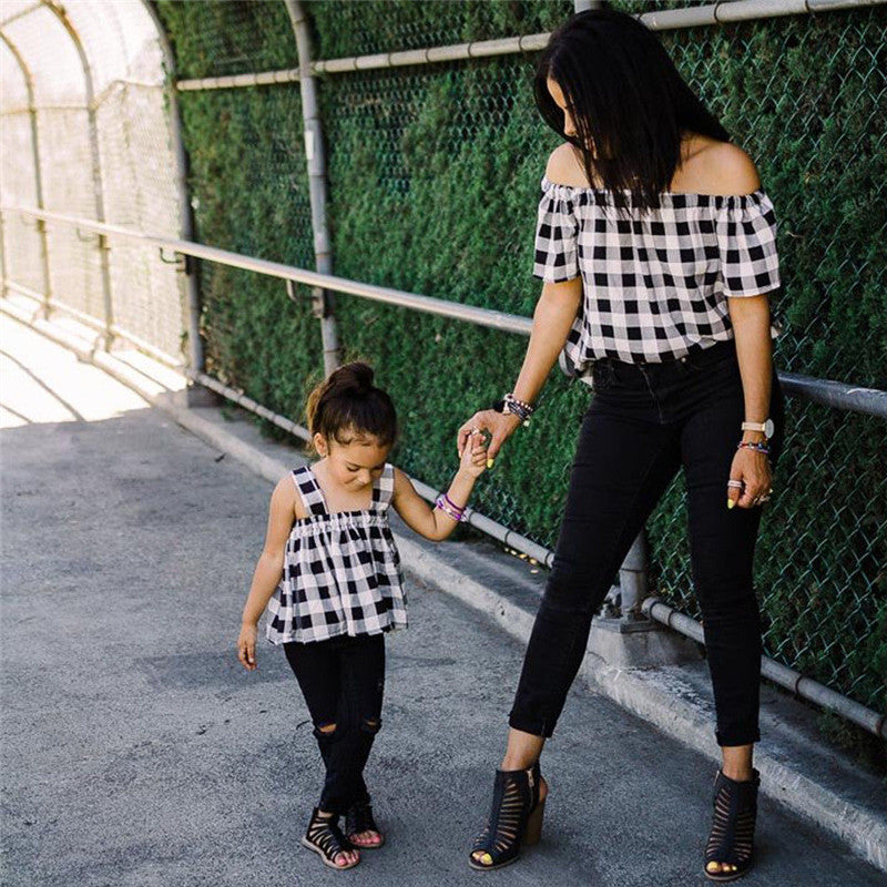 Matching Outfits T shirt Mother Daughter Baby Girls Women Shirts Tops Off Shoulder Short Sleeve Loose Tees Blouse Summer