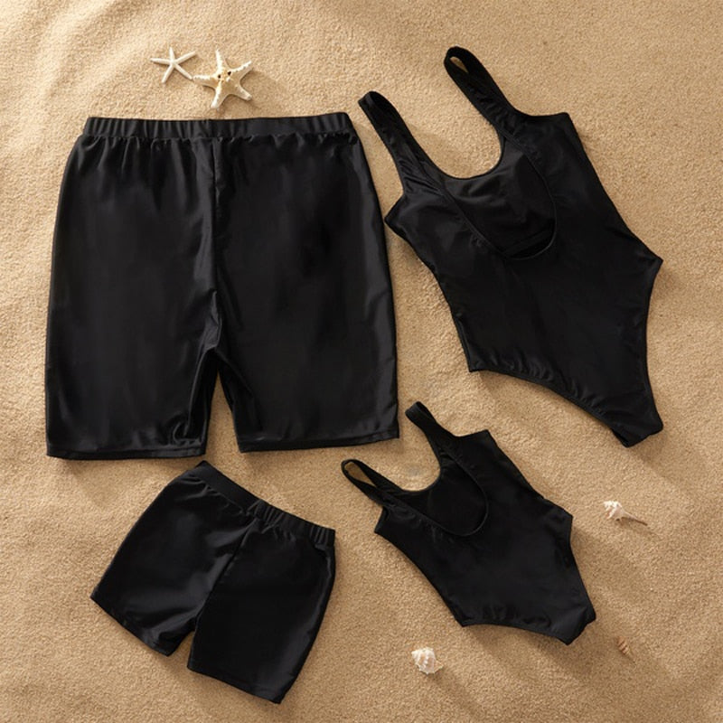 Mother Daughter Bikini Swimsuits Father Son Swim Shorts Mommy Dad and Me Beachwear Clothes