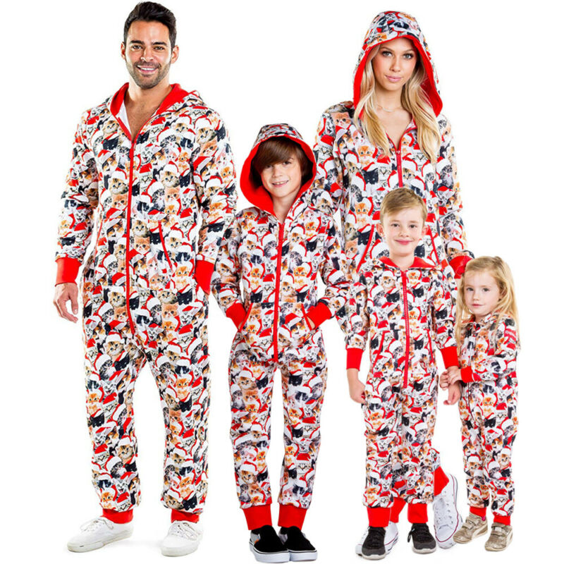 Family Xmas Matching Pajamas Adult and Kids Sets Long Sleeve Winter Autumn Warm Zipper Hooded