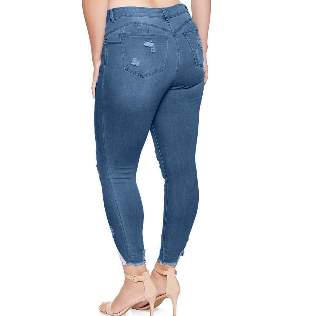 2XL 7XL Plus Size Women Ripped Distressed Slim Denim Skinny Jean Bandage Elastic Ladies