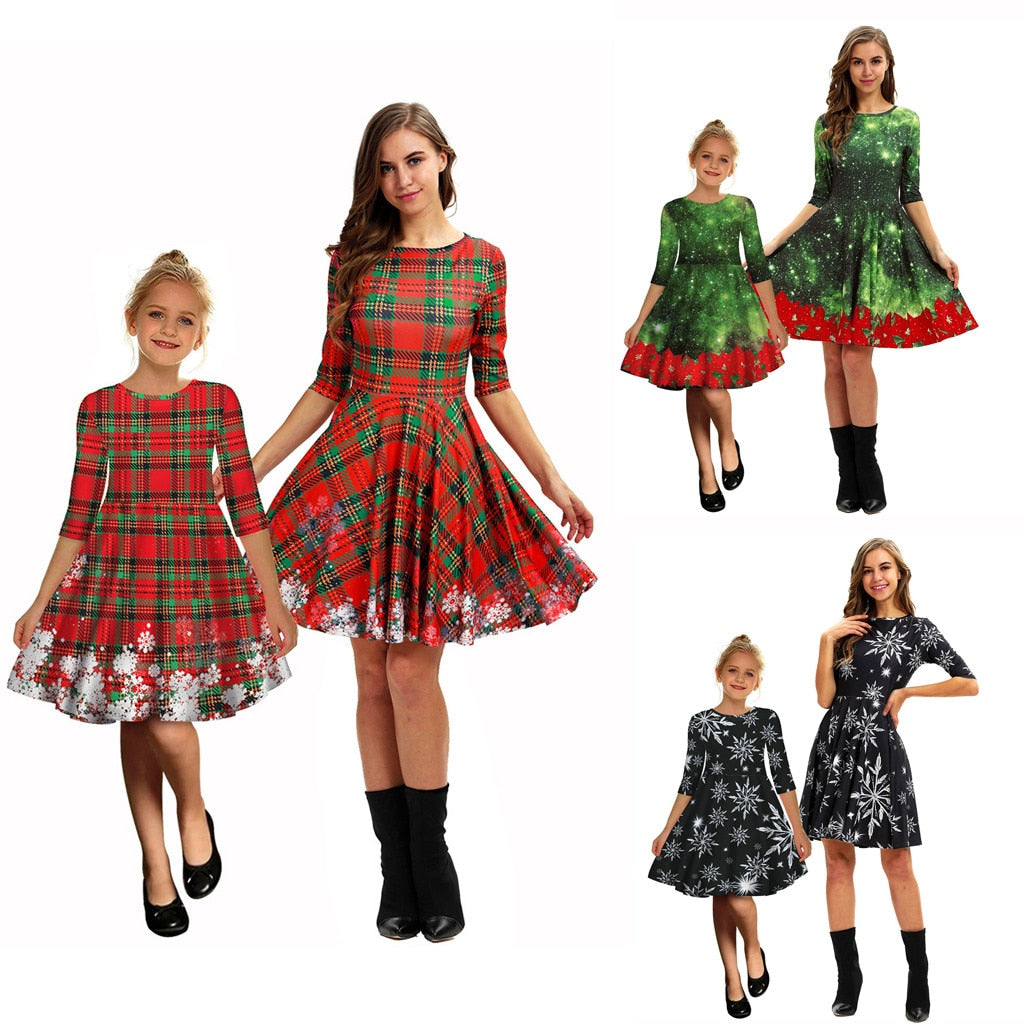 Fashion Family Set Lovely Women Mom Me Long Sleeve 3D Print Christmas Xmas Dress
