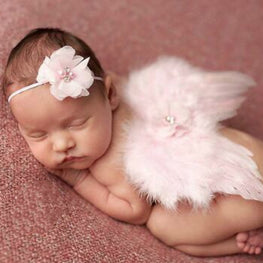 Newborn Baby Feather Lace Headband & Angel Wings Flowers