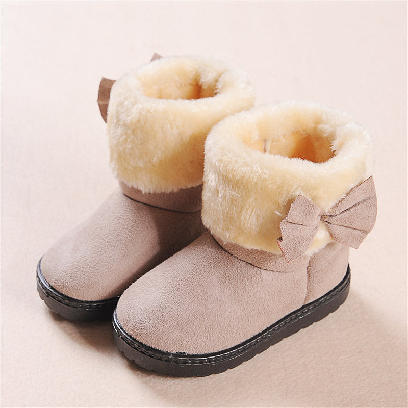 Fashion toddler Girl Fur Winter Bootie snow boots With Bow