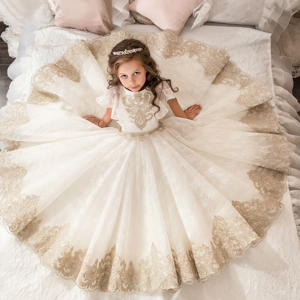 Flower Girl O neck Appliques Short Sleeves Ball Gown Pageant Dresses Communion Gown for Wedding Custom Made