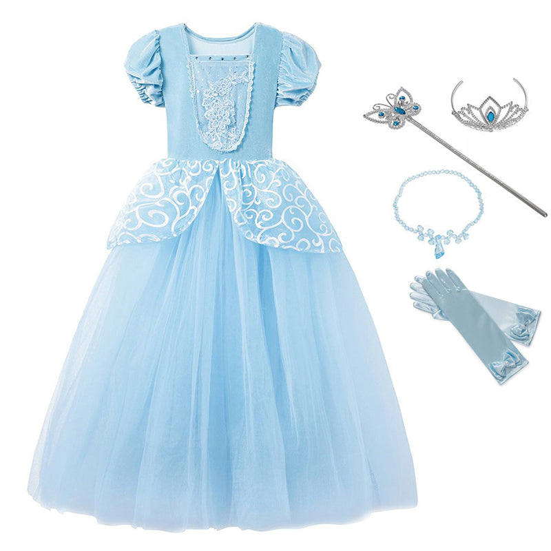Girls Cinderella Puff Sleeve Embroidery Blue Clothes Princess Dresses