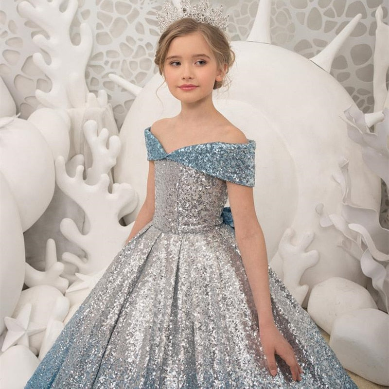 Silver Blue Gradient Long Tailing Formal Dress Girls Host Model Catwalks Piano Performance Formal Dress