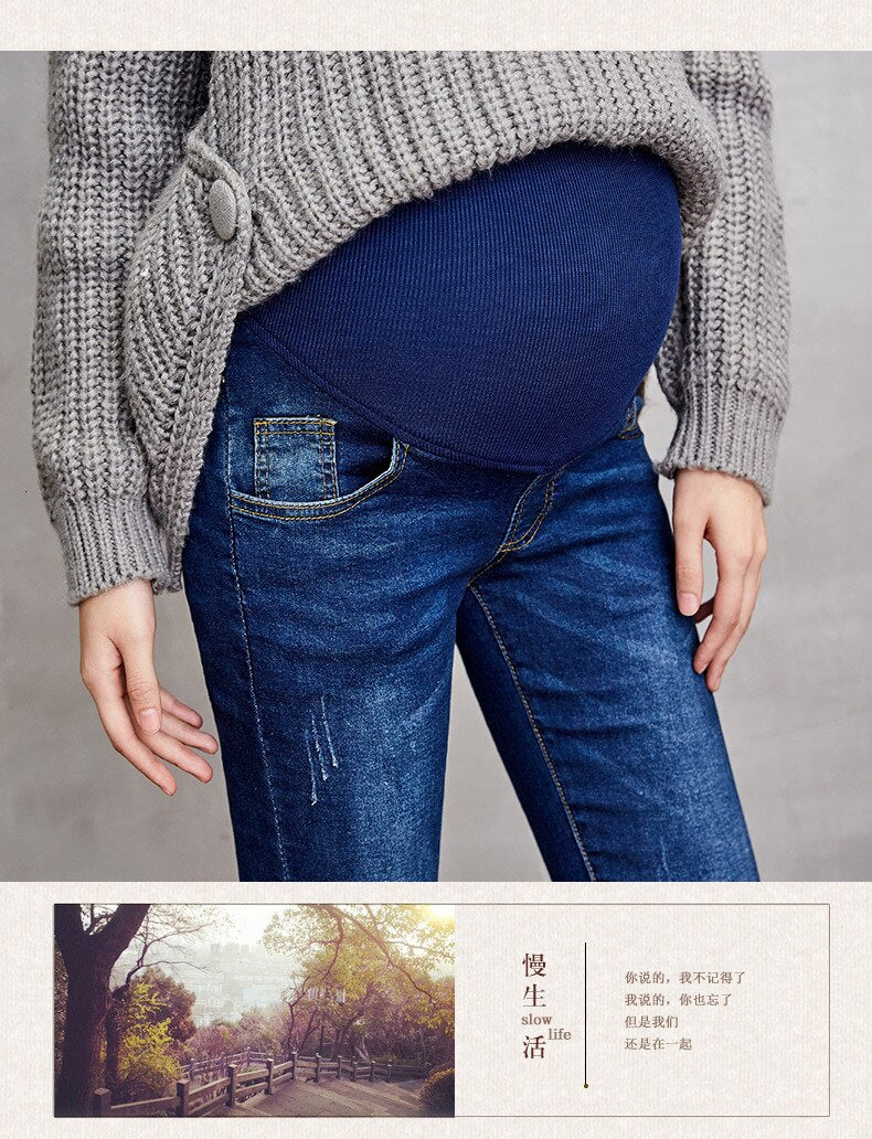 Maternity Clothes Pregnancy Trousers Broken Hole Jeans Summer Thin Style Pregnant Pants Leggings Maternity Support Jeans Woman
