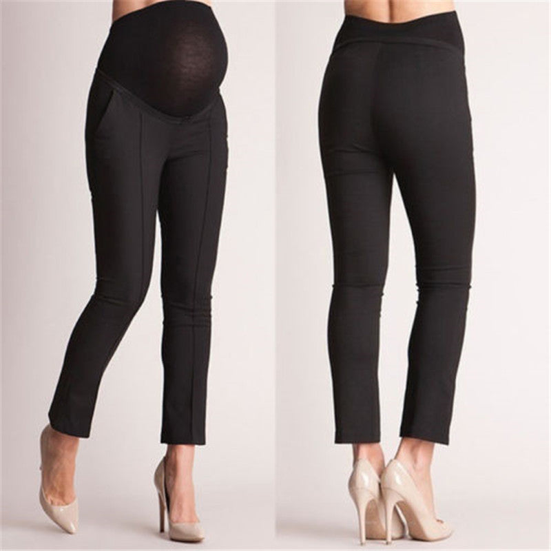 Elastic Belly Protection Maternity Pregnant Women High Waist Capris Casual Trousers Work Office Over Bump Pencil Pants