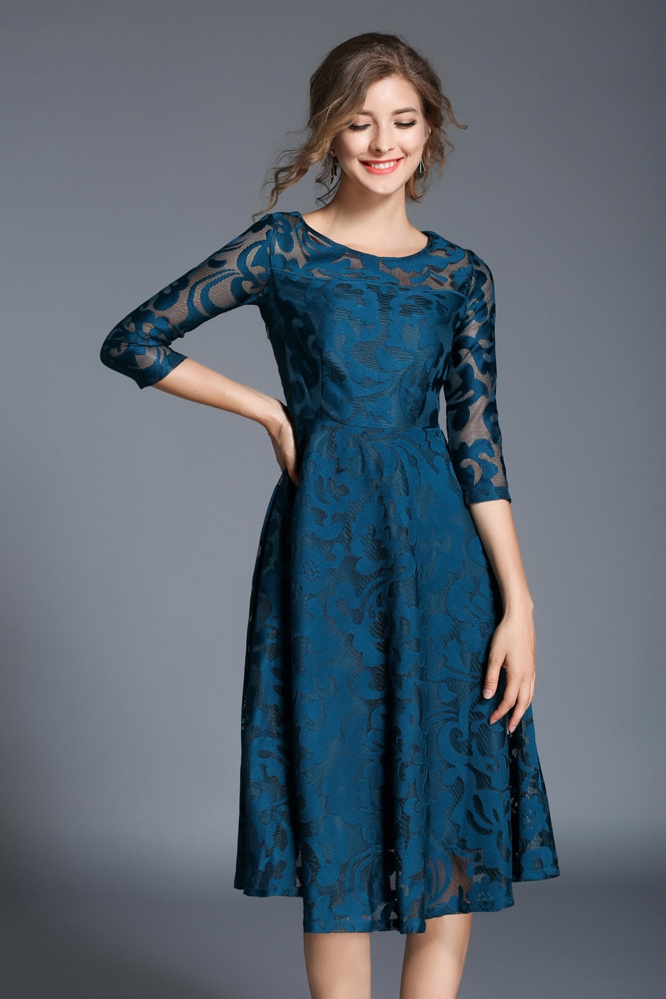 Autumn Lace Dress Work Casual Slim Fashion O-neck Sexy Hollow