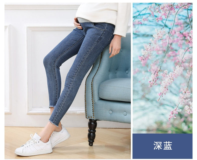 High Quality Ninth Pants Maternity Jeans For Pregnant Women Skinny Denim Stretch Jeans Pregnancy Pants