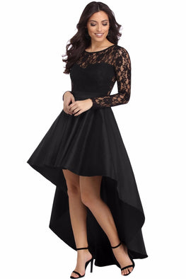 Dear Lover Party Gowns Formal Dress Women Autumn Black Long Sleeve Lace High Low Satin Dress Robe vestido de festa longo LC61910