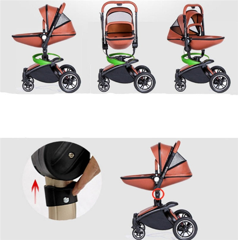 Baby stroller 3 in 1 eco-leather authentic strollers widen the sleeping basket simple baby car seat
