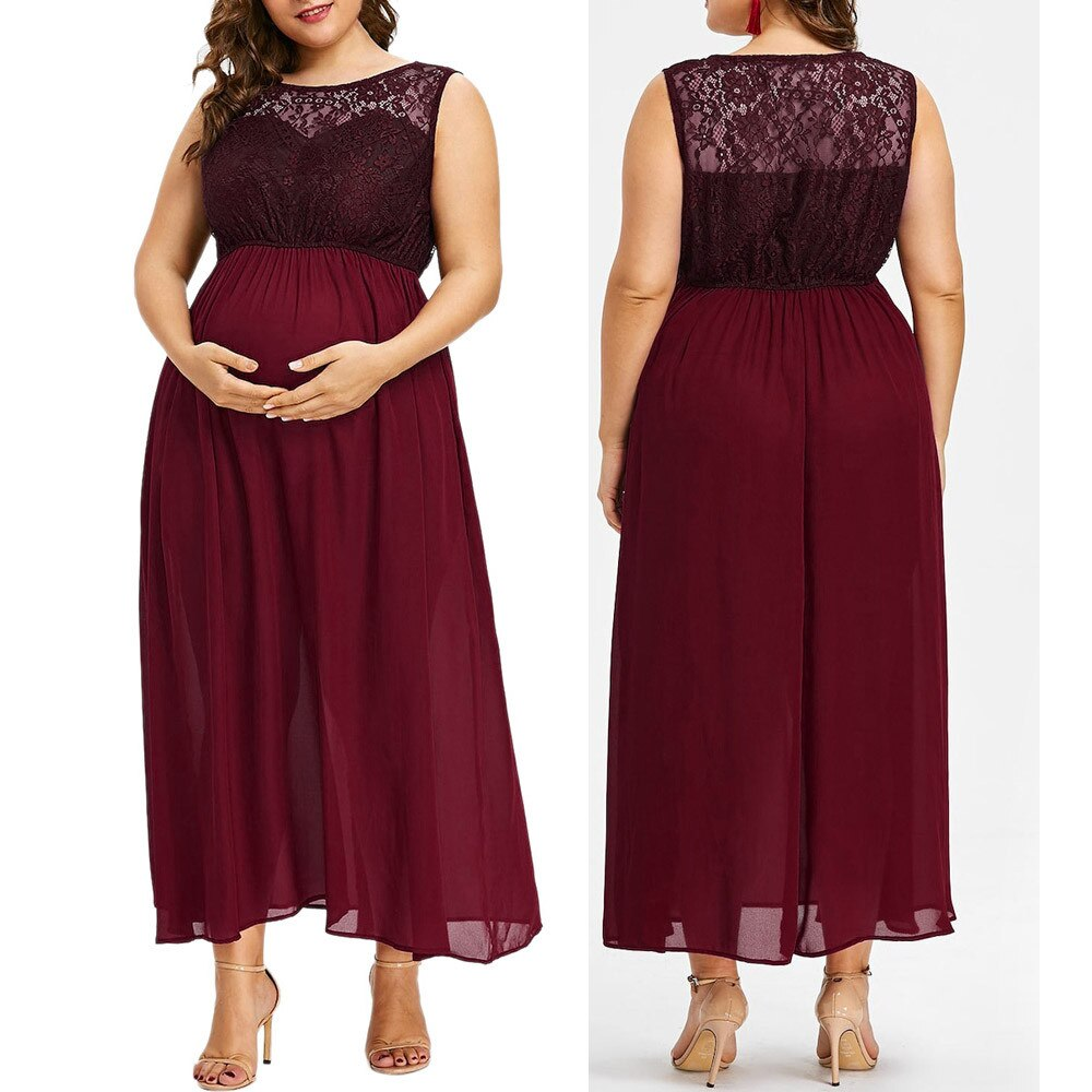 Women O Neck Plus Size Pregnant Maternity Solid Sleeveless Nursing Lace Chiffon Dress Elegant
