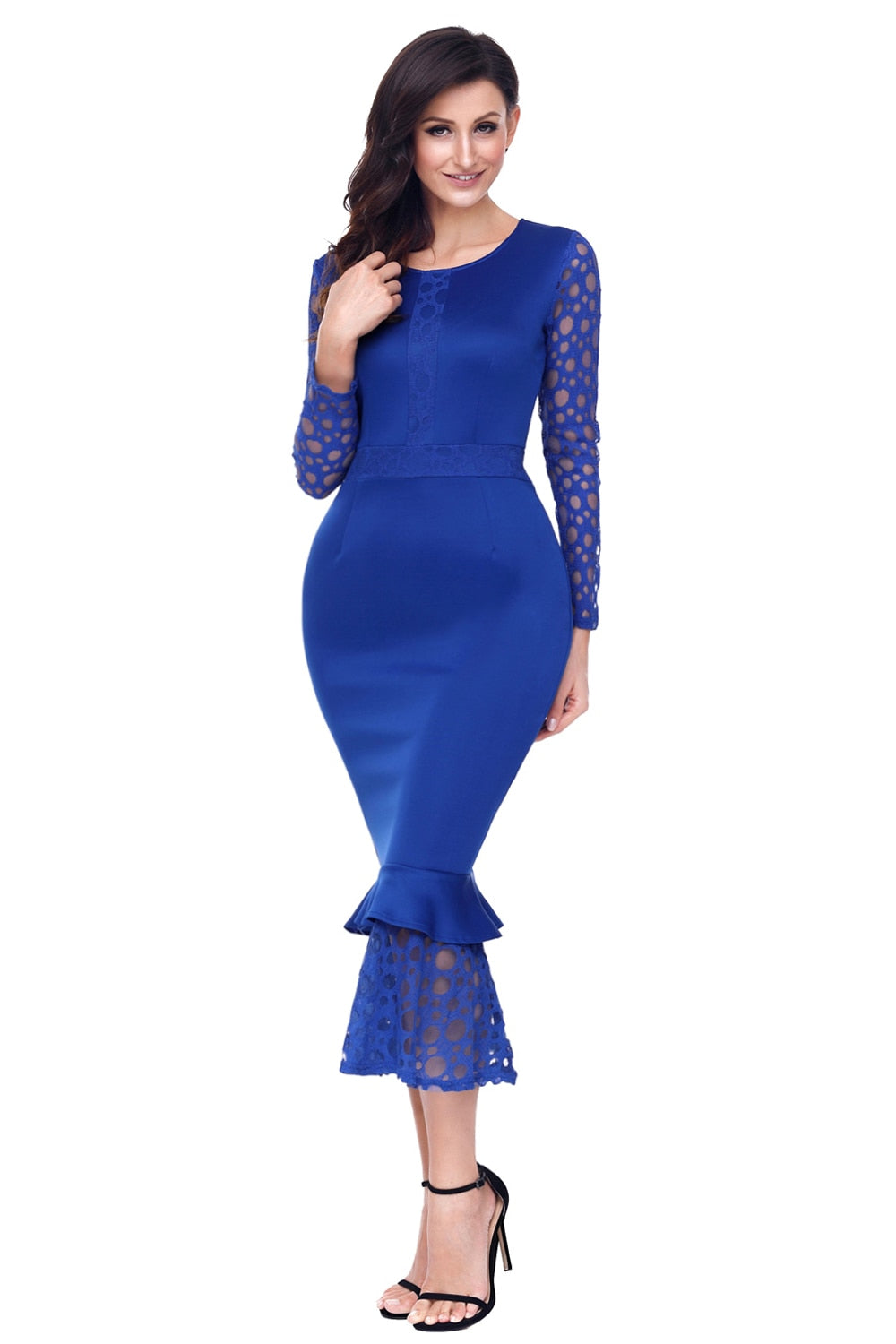 Hollow-out Long Sleeve Ruffle Bodycon Midi Dress Vestidos Vintage
