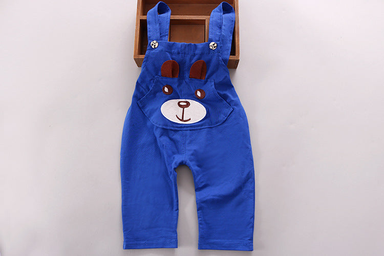 Baby Girls Boy Clothes Short Sleeve Bear Overalls Suit 2pcs