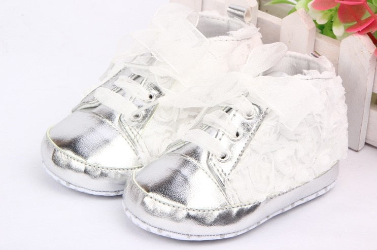Baby Girls Shoes Toddler Shoes Rose Lace Soft Bottom Princess First Walkers High Shoes First Walkers