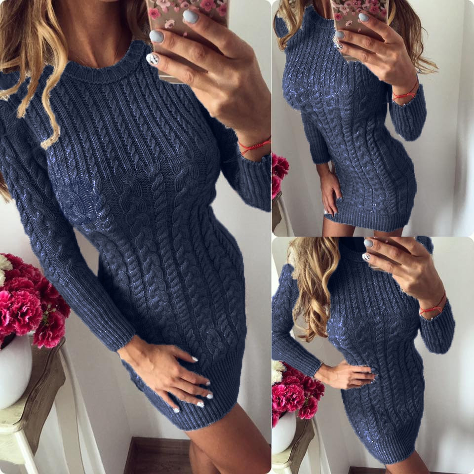 Winter Warm Sweater Dress Women Sexy Slim Bodycon Dress Female O neck Long Sleeve Knitted Dress Vestidos