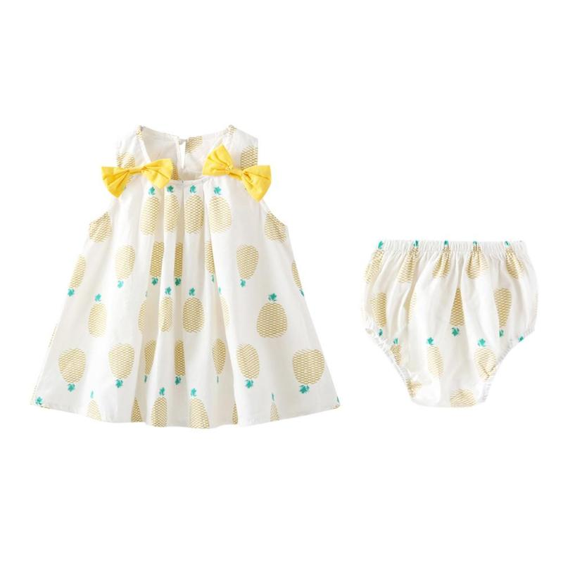 2pcs/set Cute Baby Newborn Girls Clothes Children Bowknot Pineapple Sundress PP Underpants Spring Summer Kids Sleeveless Dress
