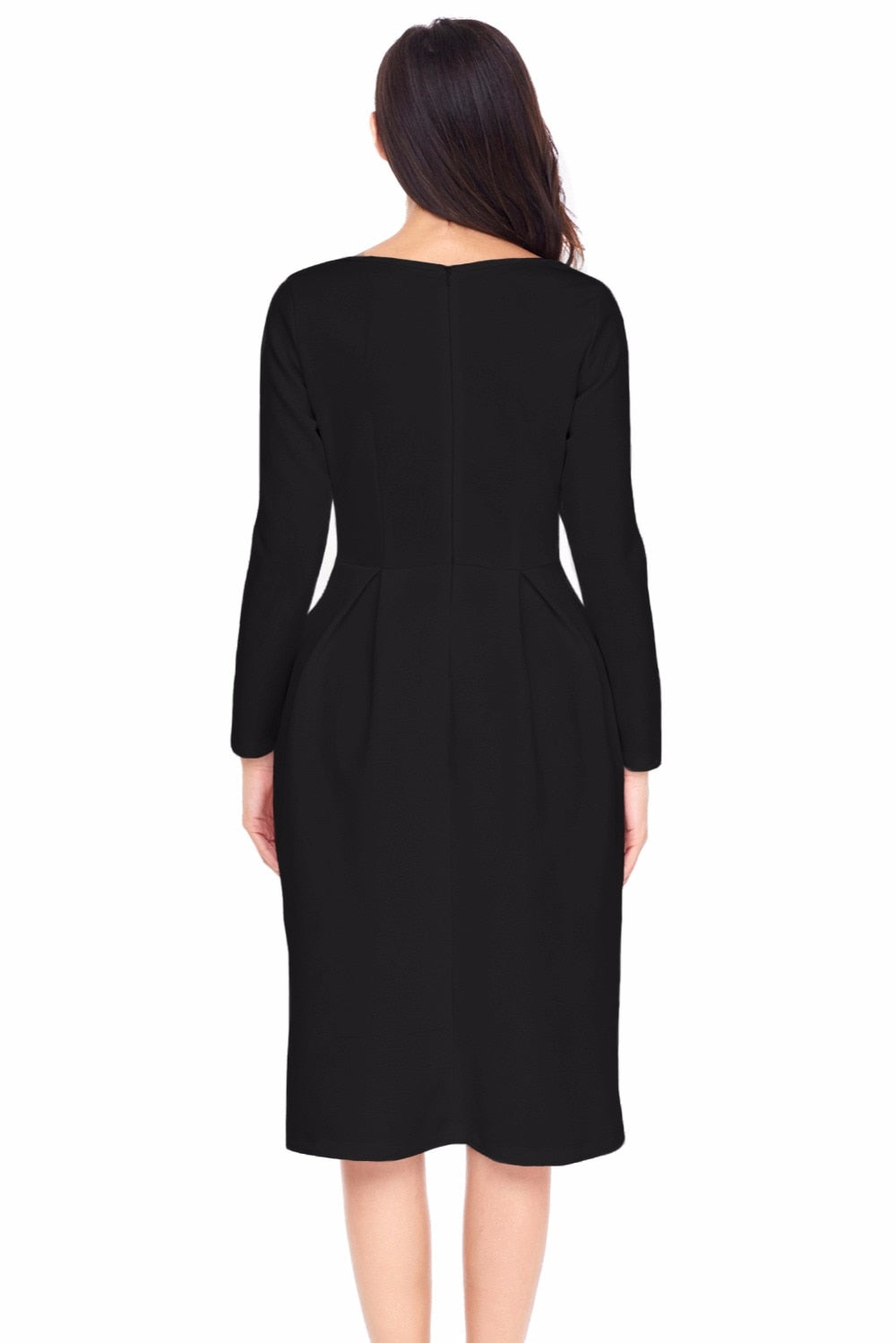 Womens Work Office Party A Line Robe Hiver Black Bateau Collar