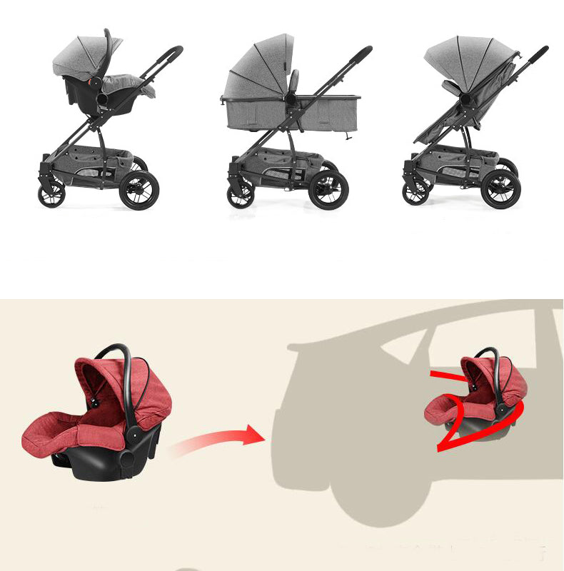 Baby Stroller 3 in 1 Children Carriage Kids Prams For New Newborns Thick Fabric  Car Seat  Bag Included