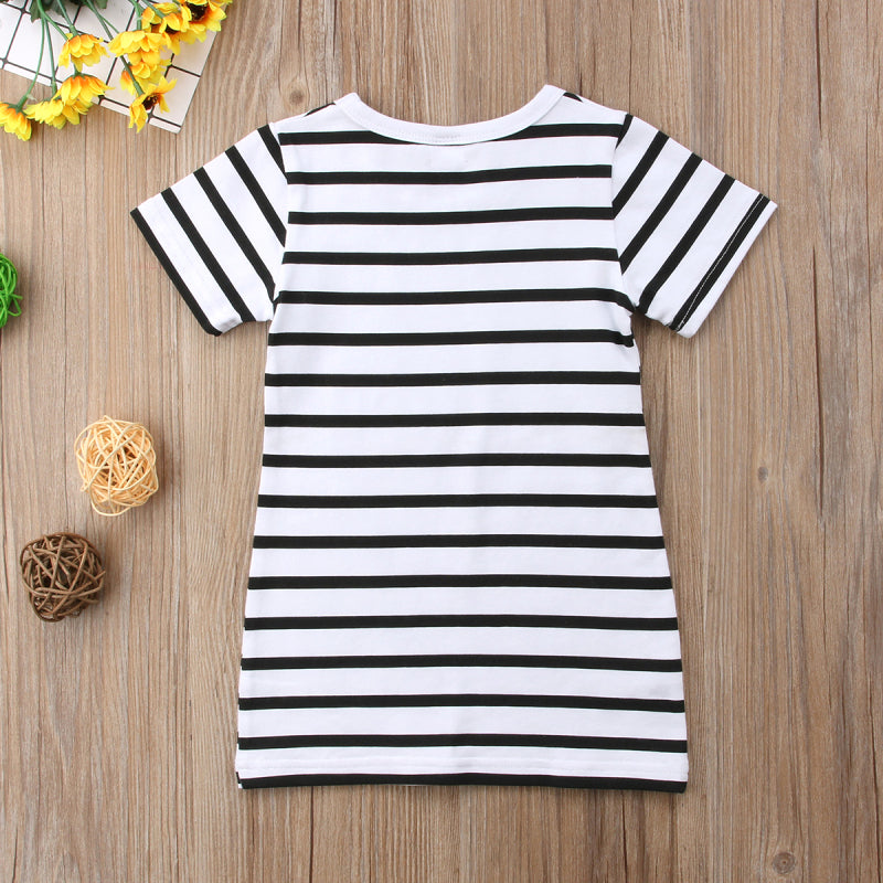 NEW Family Matching Outfits Mother&Daughter Dresses Women Baby Girls Striped Cotton Casual Summer
