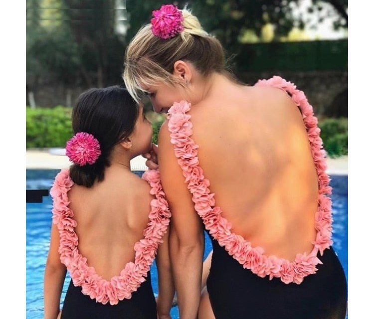 One piece Swimsuit 3D Flower Backless  Baby Beachwear Mother Daughter