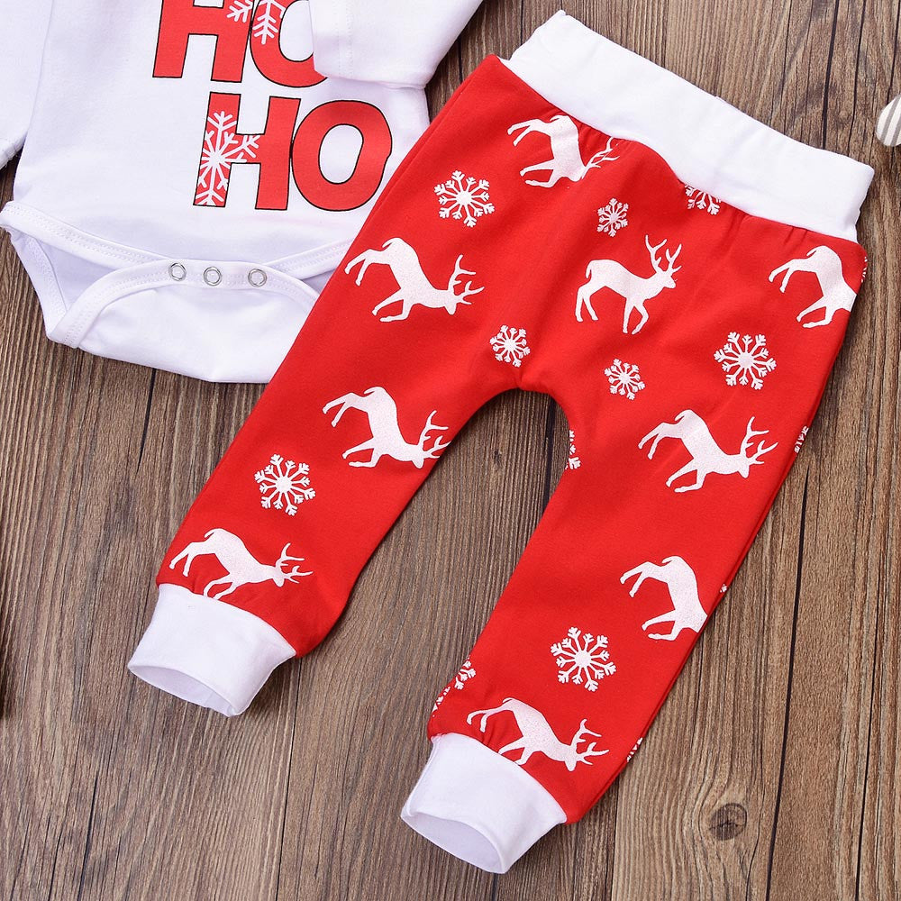 Baby Winter Clothes Newborn Infant Baby Boy Girl Romper Tops+Pants Christmas Deer snowflake