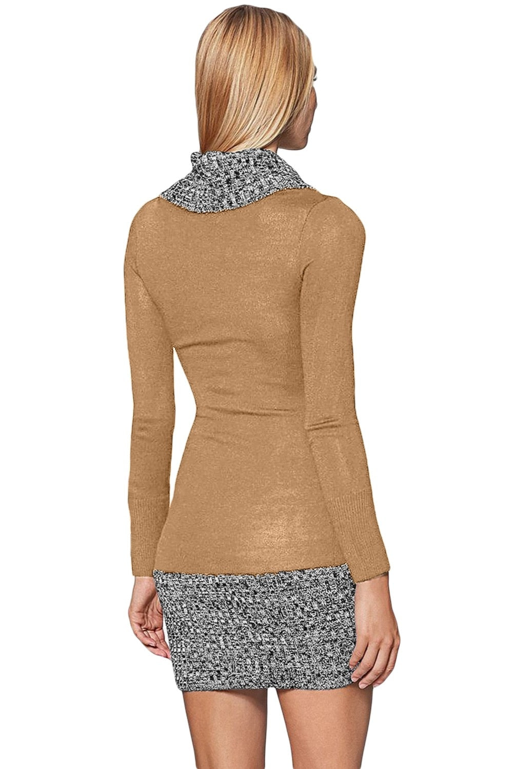 Knitted Women Autumn Winter Black Gray Button Front Long Sleeve Bow Neck Sweater Mini Dress