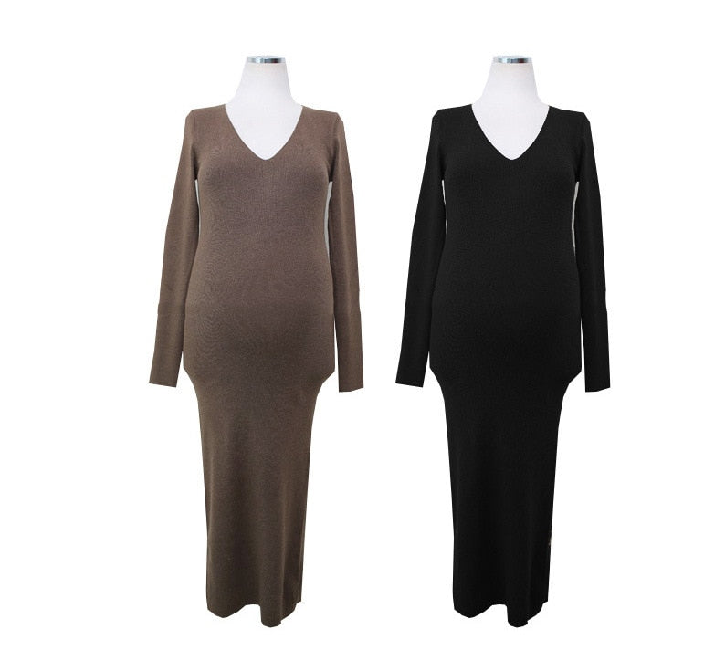 Thin V-neck Render Long Knitted Dress Pregnant Women Large Size Clothes
