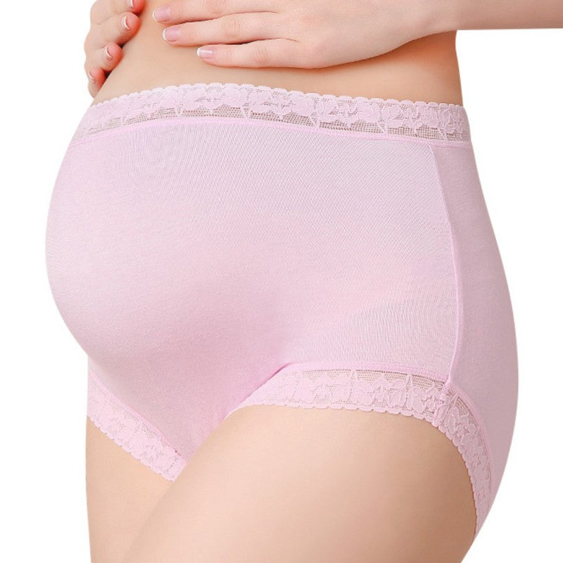 High Waist Belly Support Pregnant Women Underwear Solid Color Pattern Panties Breathable Cotton Adjustable Maternity