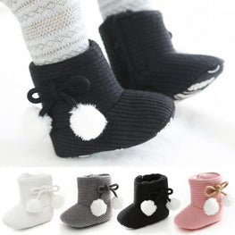 Boy Girls Baby Solid Soft Cotton Sole Snow Boots Warm