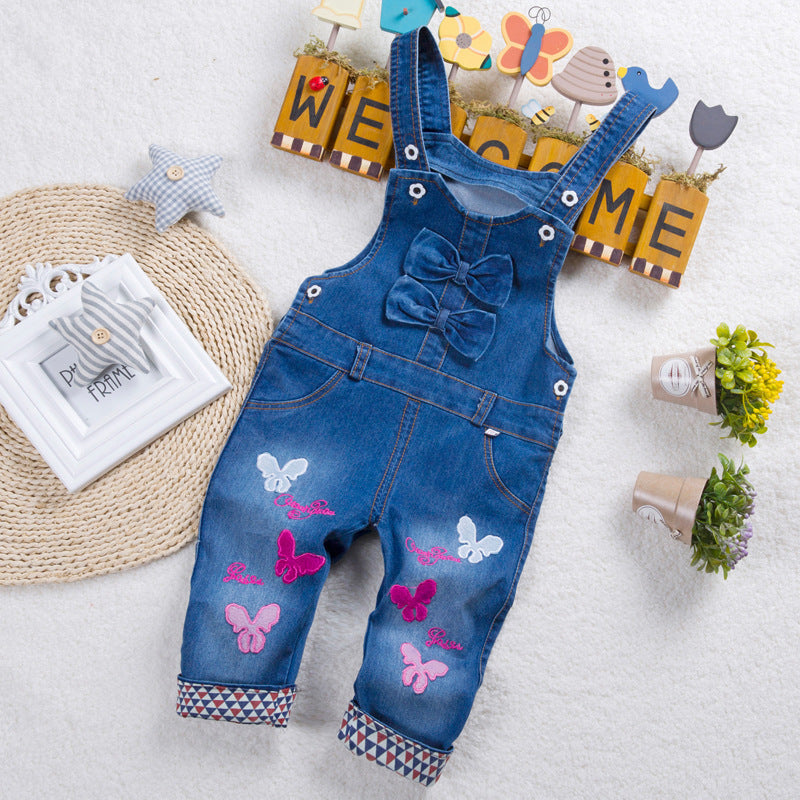 Toddler Kids Baby Boy Girl Denim Jumpsuit Playsuit Dungaree Jeans Outfit Clothes
