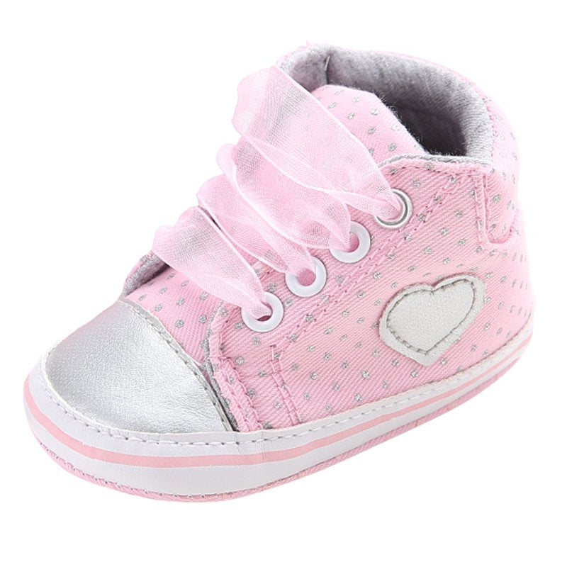 Baby Girls Polka Dots Heart Autumn Lace-Up First Walkers Sneakers