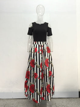 Casual Women Maxi Dresses Short Sleeve Black Top Long Pattern Floral Dress Plus Size 6XL Vestidos