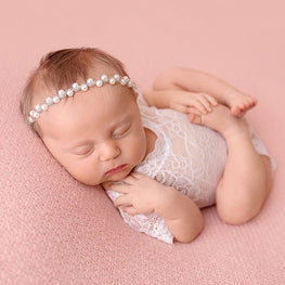 Newborn Baby Girl Lace Romper White Black V Cut Open Back