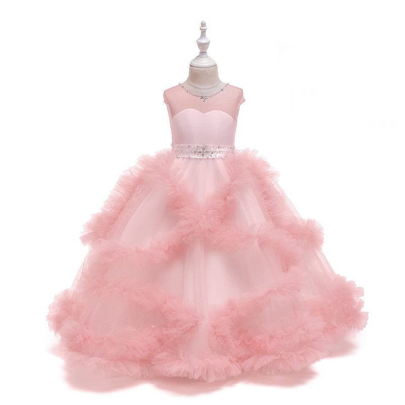 Kids Dresses For Girls Bridesmaid Elegant Princess Wedding Lace Long Dress Vestido Party Formal Evening Clothing