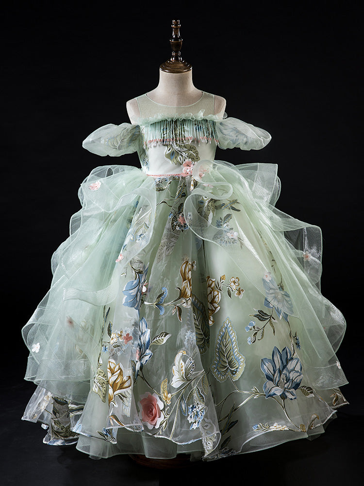 Luxury Green Long Flower Girls Dresses for Wedding Kids Pageant Gown  Girls Princess Birthday Dress Evening Gowns Puffy Tulle