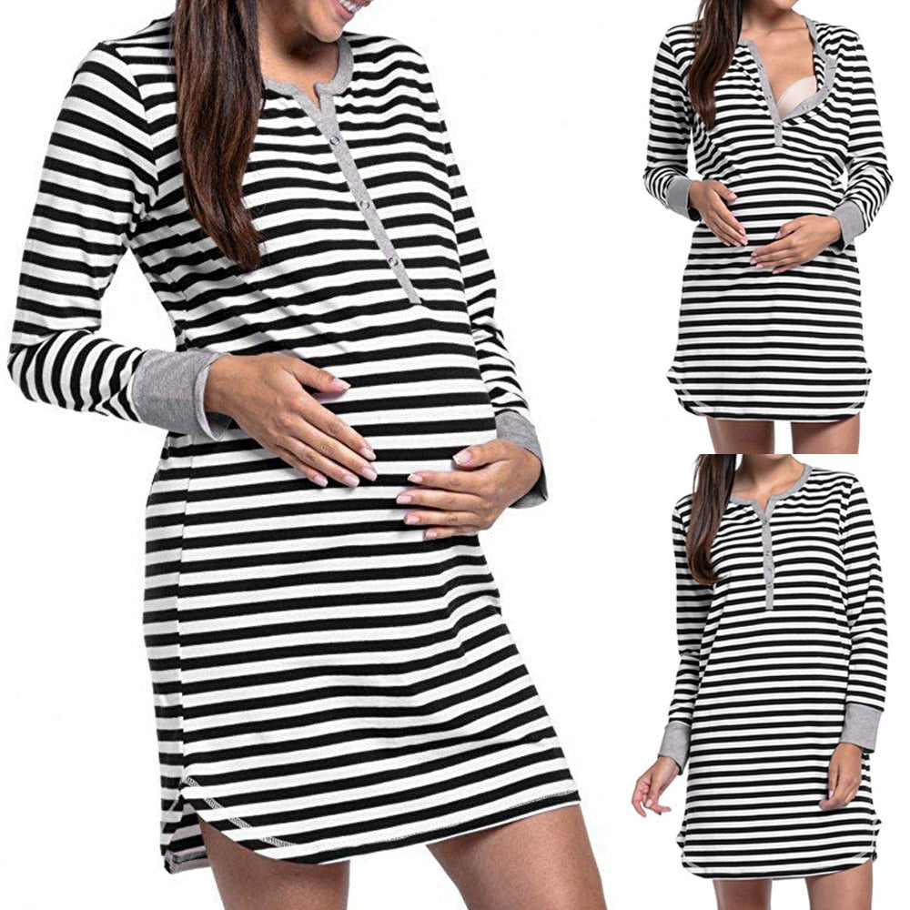 Women's Long Sleeve Button Nursing Nightie Stripes Breastfeeding Dress