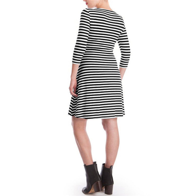 Maternity Clothes Nursing Half Sleeve Striped Dress