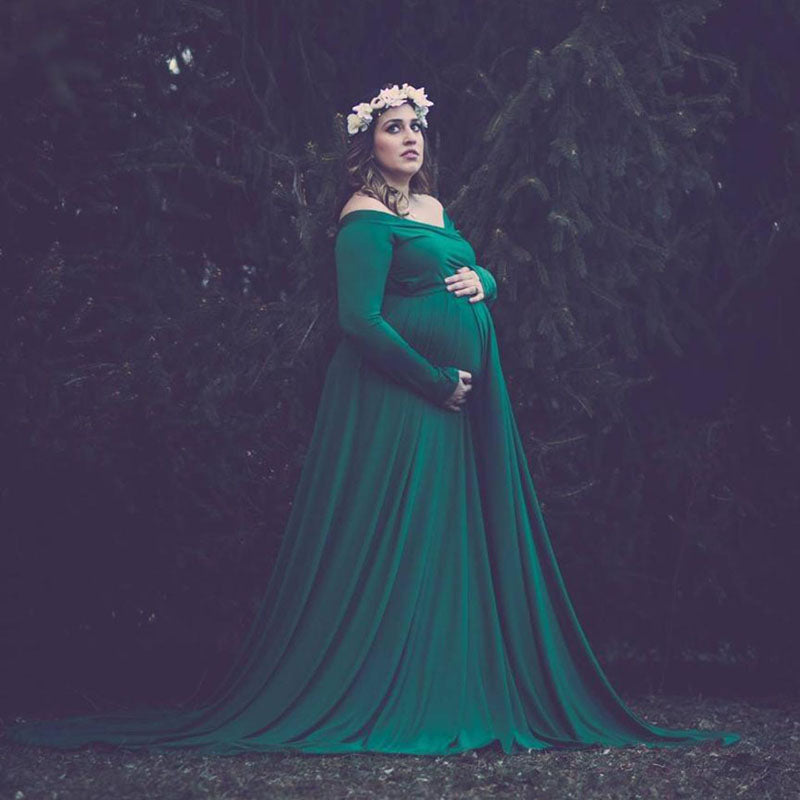 Maternity Off Shoulders Gown for Baby Shower Photo Props Dress Pregnant Women Long Sleeve Maxi Pregnancy Dress